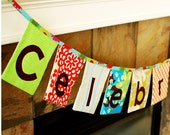 Celebrate Fabric Banner in Red and Blue