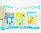 SALE Pillow Cover in Row Houses on Linen 12x18 inch