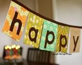 Happy Birthday Fabric Banner in Brown, Green, Orange