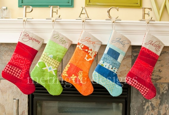 Personalized Patchwork Christmas Stocking in Bright Cottons