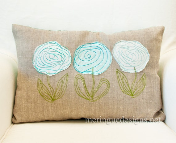 SALE Scribbled Roses Linen Pillow Cover 12x18 inch