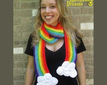 Rainbow Scarf Clouds - Crochet