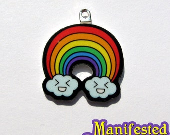 Rainbow Charm keychain necklace