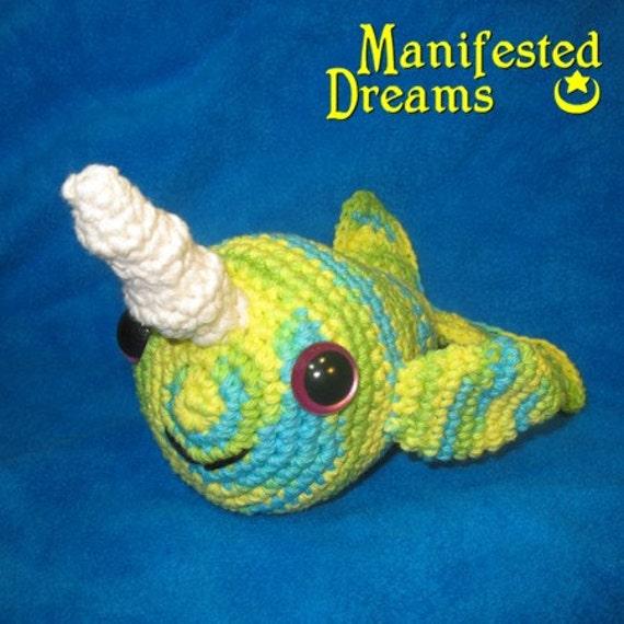 Narwhal Plush - Blue, Green and Yellow Amigurumi Crochet