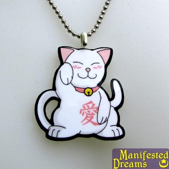 Lucky Cat Necklace - Ai No Maneki - Cat of Love Kanji