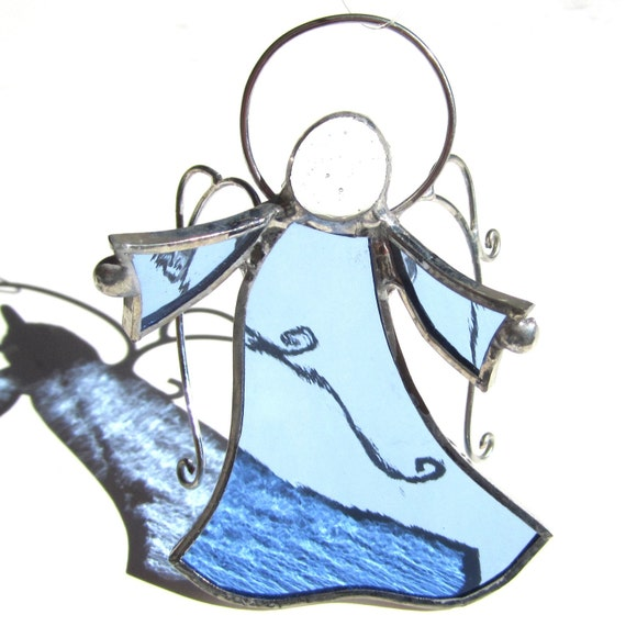 Stained Glass Angel - Julia - Blue Christmas Holiday Tree Ornament Wire Wings Religious Suncatcher 3 Dimensional