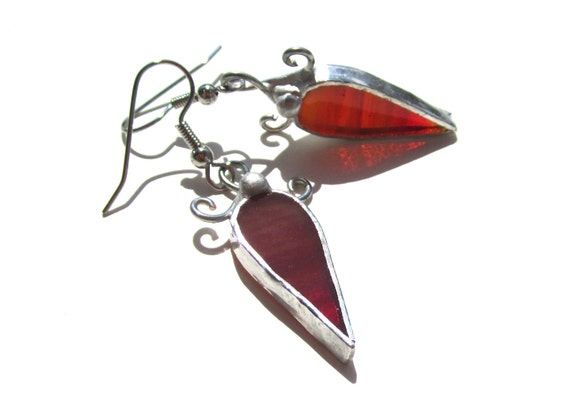 Catching Fire - Stained Glass Earrings - Orange Womens Accessories Lightweight Jewelry Dangle Surgical Steel Hooks Metalwork Wire