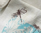 Dragonfly Bag and Pouch Set  --- Tea Stained Hand Screen Printed
