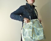 Reversible Diaper Bag - Optic Linen and Mustard Martini - Adjustable Strap