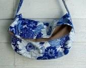 Vintage Blue  Messenger Bag, Vintage Canvas, Floral , Adj Strap, Key Fob