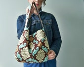 Damask Purse, Brown Bucket Bag, 2 Pockets