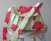 Reserved - - - Green Gathered Shoulder Bag - Messenger Bag - Adjustable Strap - Zipper Pocket