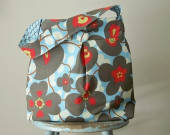 Reversible Large Hobo Bag - Lotus Morning Glory and Full Moon Slate Fabric