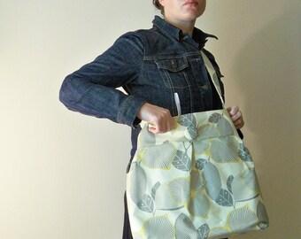 Reversible Diaper Bag - Optic Linen and Mustard Martini - Adjustable Strap