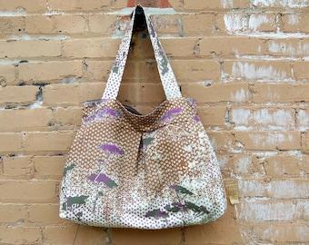Queen Anne Lace Bag, Brown Bag Extra Large,  3 Pockets, Key Fob, 2 shoulder straps