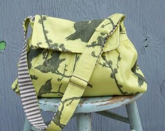Shoulder Bag W Flap - - Black Birds on Green - - Key Fob - Adj Strap - - 2 Pockets