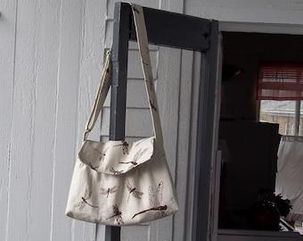 Dragonfly Messenger Bag - Tea Stained - 3 Pockets - Key Fob - Adjustable Strap
