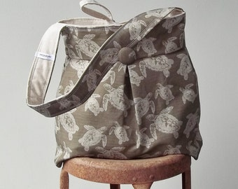 Turtle Diaper Bag - Brown Natural - 6 pockets - Reversible - Color Options Available