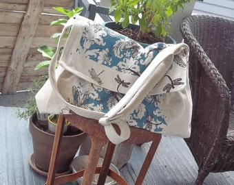 Robins Egg Blue Messenger Bag - Flap - Key Fob - 3 Pockets - Dragonfly
