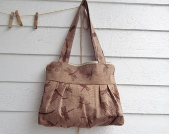Brown Linen Purse - Dragonflies - Zippered Top - 3 Pockets - Key Fob