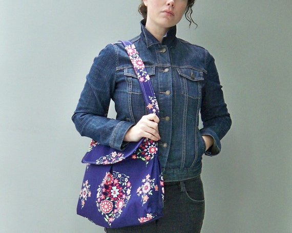 Blue Messenger Bag, 3 Pockets, Adjustable Strap, Key Fob, Midnight Floral Vagabond