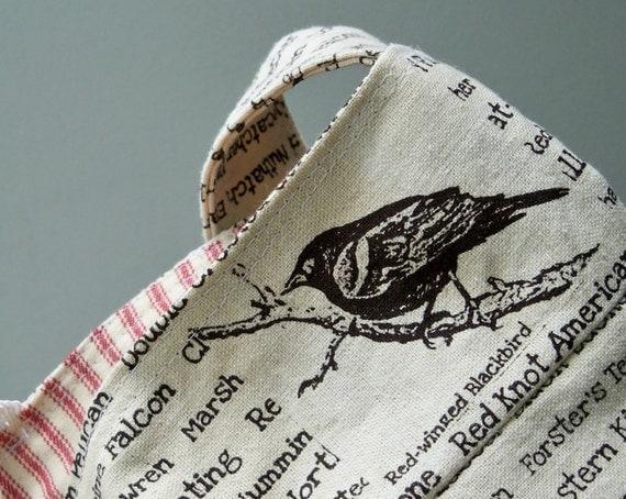Black Bird Bag, Bird Word Bag, Tea Stained, 3 Pockets, Cotton Ticking, Key Fob