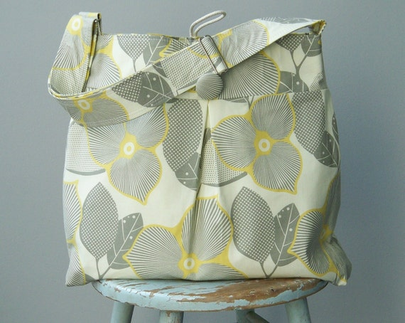 Extra Large Grey Yellow Diaper Bag, 6 Pockets, Reversible, Adjustable Strap
