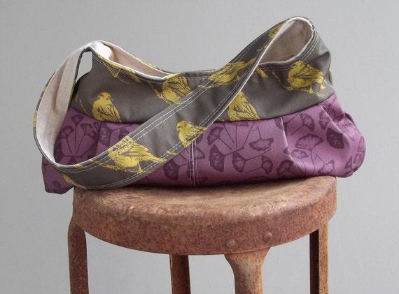 Granny Bag - Small - Birds and Ginko - Zipper Pocket