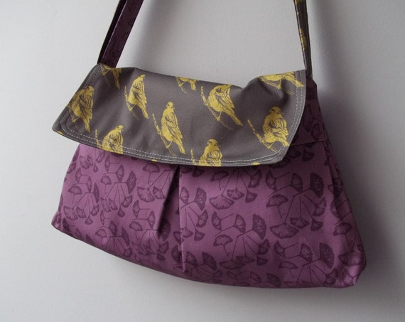 Purple Messenger Bag - Ginko Leaves - 3 Pockets - Key Fob
