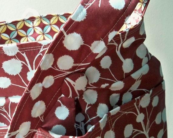 Reversible Book Bag or Lap Top Tote - Chestnut Hill and Petal in Plum