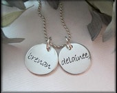 Hand Stamped Jewelry - Personalized  Necklace For Mom - Two Name Charms
