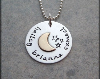 Moon and Stars Necklace - I Love You To The Moon and Back - Personalized Necklace - Sterling Silver Moon Necklace - Mother's Necklace