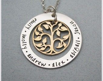 Personalized Family Tree Necklace - Grandmother Necklace - Mothers Family Name Necklace - Hand Stamped Jewelry - Tree Of Life Necklace