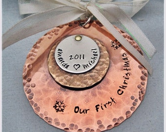 Personalized Christmas Ornament - Our First Christmas Tree Ornament - Hand Stamped Mixed Metal Ornament - Wedding Gift - Couple Gift
