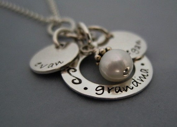 Charm Necklace for Grandma- Itty Bitty hand stamped personalized tags