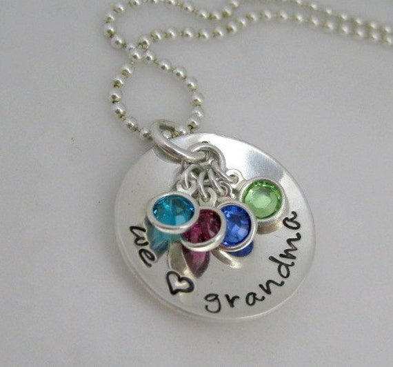 Hand Stamped Jewelry - Grandma Necklace with Birthstones
