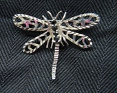 Vintage Sterling Dragonfly Brooch with sapphires