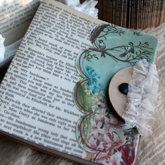 Woodland paper and lace blank journal (Jane Austen inspired)
