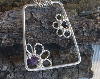 Flower Necklace Asymmetrical Partial Flower Pendant Open Amethyst and Spinel Twisted Wire Petals Trapazoid