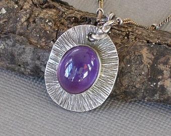 Amethyst Necklace Bezel Set Cabochon Purple Necklace Oxidized