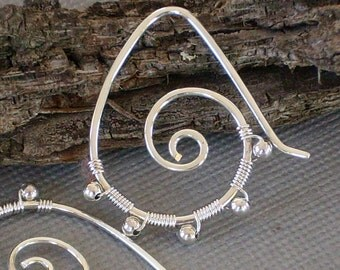 Silver Spiral Earrings with sterling silver beads