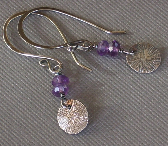 Amethyst Earrings with Recycled Silver