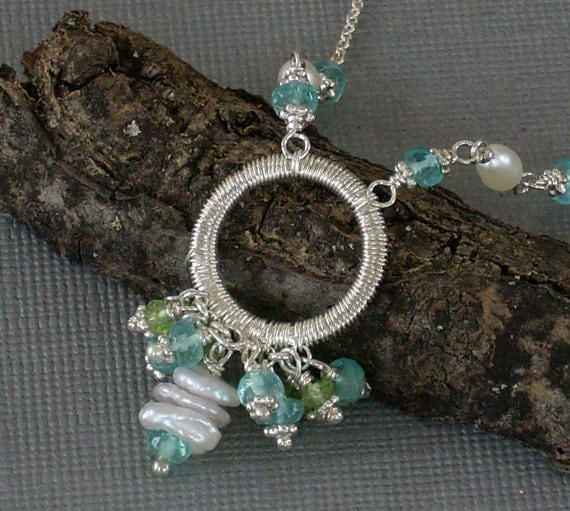 Intricately Wrapped Necklace Peridot Apatite and Pearl Necklace