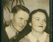 Large Photo Booth Couple tinted original vintage photo