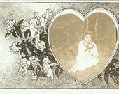 Young Gal in Heart Valentine Graphic RPPC