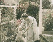 Spring Mom Babys First Step Garden Tinted vintage photo