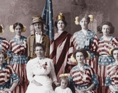 vintage photo Poster Daughters of the Revolution Flag Dresses Uncle SAm Fine Art Photography 24X14 in