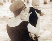 1907 Baby and Mom at Beach in Ocean vintage photo