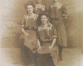 4 Women in Bathing Suits New Jersey Boardwalk Beach vintage photo postcard