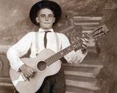 1914 Country WEstern BOy on Guitar photo postcard
